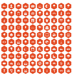 100 view icons hexagon orange vector