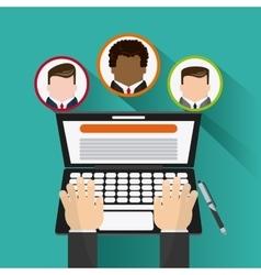 laptop businessman pen icon vector image