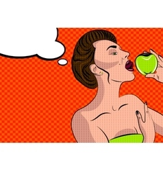 Sexy pop art woman with an apple vector