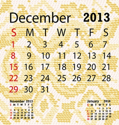 December 2013 calendar albino snake skin vector