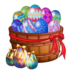 A basket full of easter eggs vector