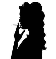 Silhouette of smoking girl vector image