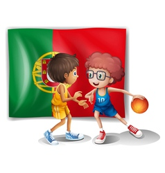 The Portugal flag and the basketball players vector image