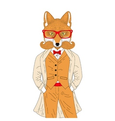Anthropomorphic fox in elegant classic suit with vector