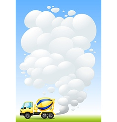 A cement truck with smoke vector