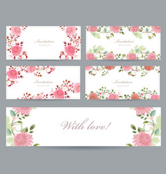 Romantic collection of greeting cards with vector