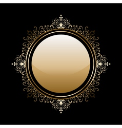 Gold round frame vector image
