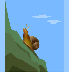 Reaching a goal snail on the mountain vector