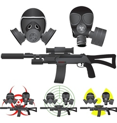 Sniper rifle and gas masks vector