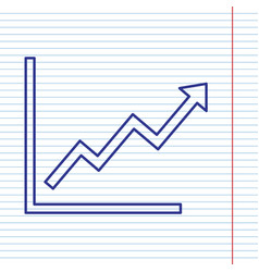 Growing bars graphic sign  navy line icon vector
