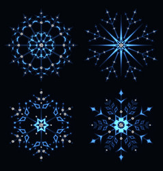 Blue shining snowflake vector