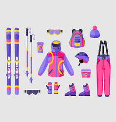 Set of snowboarding gear clothing equipment icons vector
