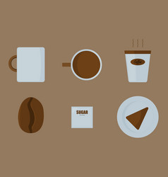 set of items in a coffee shop vector image
