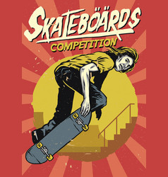 hand drawing of skateboarding competition poster vector image