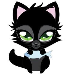 Cute black cat and fish vector image
