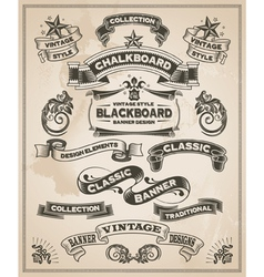 Vintage hand drawn calligraphic banner designs vector image
