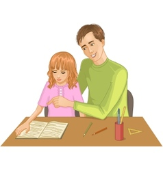 Father helps daughter to read a book vector image