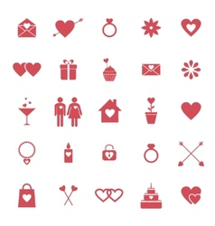 Flat icons for valentine day or wedding design vector