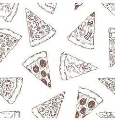Hand drawn slices of pizza outline seamless vector