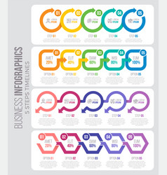 5 steps timeline infographic template with arrows vector image vector image