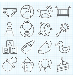 Baby theme icons set vector