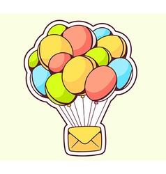 Yellow envelope flying on color balloons vector