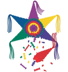 Broken star pinata with falling candy vector