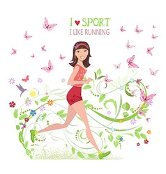 Greeting card with sporty brunette jogging for vector