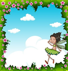Green fairy flying in the sky vector