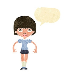 Cartoon girl with speech bubble vector