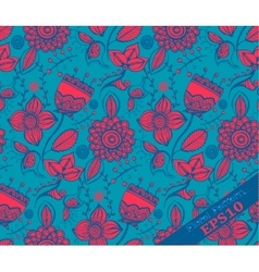 Repeating floral pattern blue and fuchsia vector