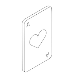 Ace of hearts icon isometric 3d style vector