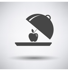 Apple inside cloche icon vector