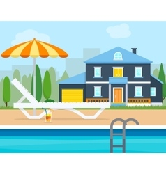 Lounge with umbrella near the pool vector