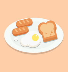 Breakfast with eggsbread and sausages on plate vector