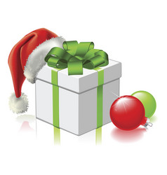 christmas gift with santa hat and baubles vector image vector image