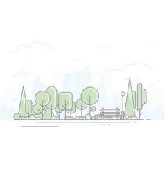 City park with bench vector