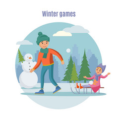 colorful father playing with children concept vector image