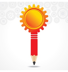 creative red gear pencil with copy-space vector image vector image