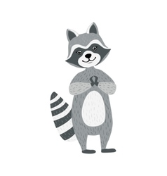Cute raccoon character standing and smiling vector