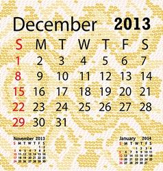 december 2013 calendar albino snake skin vector image