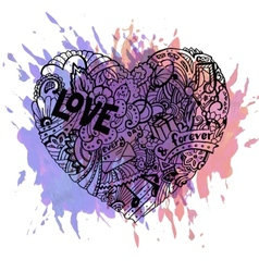 Doodle colorful heart with paint splashes vector