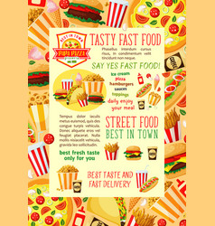 fast food restaurant lunch banner template design vector image