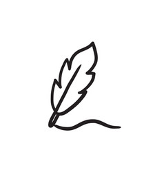 feather sketch icon vector image vector image