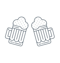 Foamy beer mugs linear icon vector