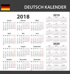 German calendar for 2018 2019 and 2020 scheduler vector