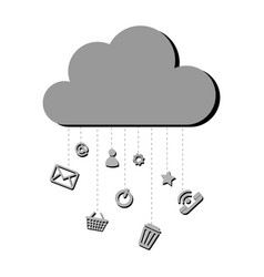 Grayscale silhouette with cloud service storage vector