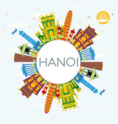 Hanoi skyline with color buildings blue sky and vector
