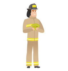 Happy caucasian firefighter holding money vector