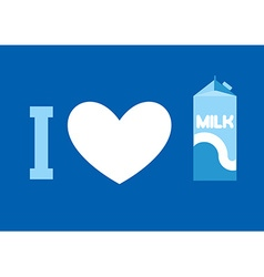 I love milk Heart and carton of milk Emblem for vector image vector image